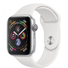 Apple Watch Series 4 40mm GPS + Cellular, Silver Aluminium Case with White Sport Band