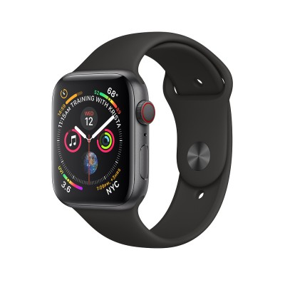 Apple Watch Series 4 GPS+Cellular 44mm Space Black Stainless Steel Case with Black Sport Band MTX22