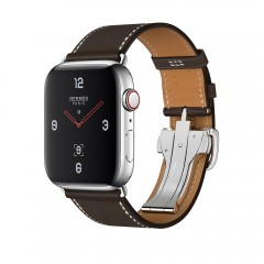 Apple Watch Hermès 44mm GPS+C St.Steel Case with Ébène Barenia Leather Single Tour Deployment Buckle